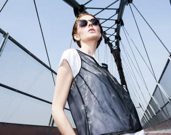 Black organza top sleeveless