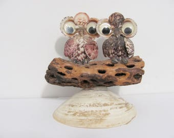 Funky Vintage Pair of Owls sitting on a branch Genuine Sea Shell Figure Kitsch
