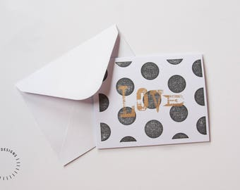 Handmade Letterpress Greeting Card, Black & Gold Dot Letterpress Greeting Card, 'Love' Letterpress Greeting Card, Blank I Love You Card