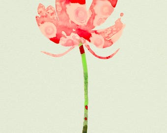 Barbi,  is a print created from a watercolor painting from my new botanical series, colorfully rendered