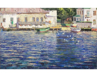 Original PLEIN AIR Painting Seascape Painting Oil artwork Summer Landscape painting Boats Wharf IMPRESSIONISM Oil on canvas by A. Onipchenko