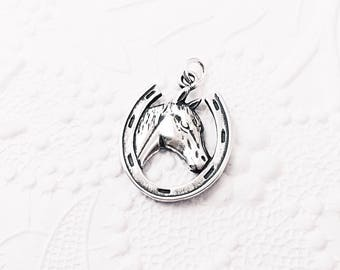 Sterling Silver Horse Charm, Silver Horseshoe Charm, Western Charm, Horse Head Pendant, Cowboy or Cowgirl, 20mm x 13.5mm, SS011
