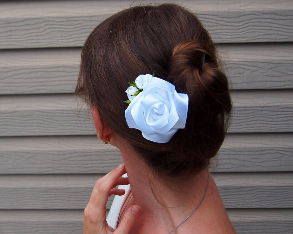 White Rose Hairpiece White Hair Flower Wedding Rose Comb Bridal