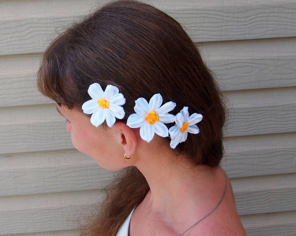 Silk daisy hair clip white hair flower chamomile hair clip silk daisy hair clip white hair flower chamomile hair clip mightylinksfo