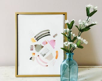 Blush +smoke abstract watercolor || gallery wall art || nursery art || contemporary art || abstract art