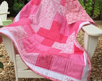 Handmade Baby Quilt, Pink