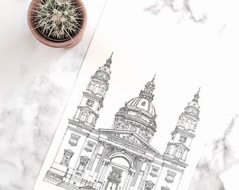 St. Stephen's Basilica, Budapest, Hungary illustration