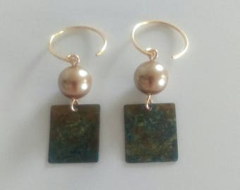 Light Blue Green Patina Brass and Gold Shell Pearl Earrings