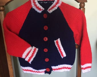 Hand Knit Child's Baseball Jacket