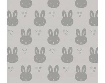 Grey bunny jersey, bio jersey, organic bunny jersey organic knit, grey/mint bio bunnies organic jersey