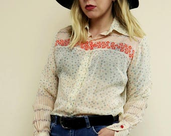 Vintage Cream 70's Floral Wide Collar Shirt