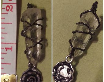 Handmade quartz crystal with wire and rose charm necklace