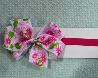 Pink Floral Baby Headband