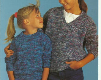 Childrens V and Round Neck Sweaters Knitting Pattern.