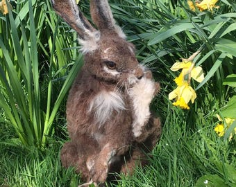 Needle felted realistic hare/rabbit sculpture