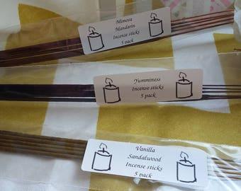 Vanilla Sandalwood Incense sticks x 5, handmade by Klairs Kandles