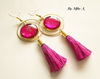 "cabochons in lacquered glass ""fushia"" a glitter earrings"
