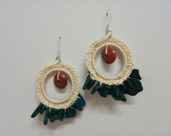 Hemp and wood earrings