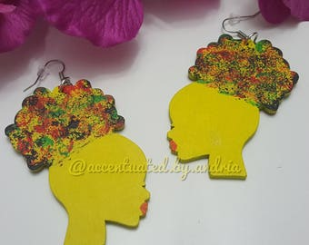 Vibrant Afro Puff Earrings