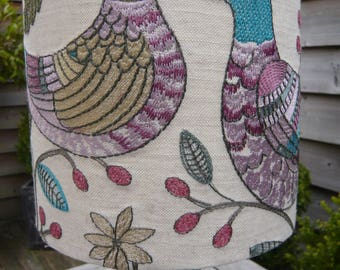 Braemar wisteria embroidered pheasant drum lamp shade 20cm diameter