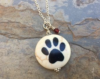 Paw Print Pendant on Sterling Silver Chain, Choice of Crystal Color and Length.