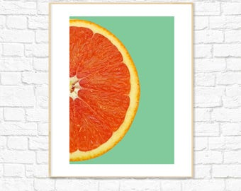 Orange Print, Green, Food Art, Fruit Print, Photography, Kitchen Dining Room Decor, Colorful Minimalist Printable Wall Art,Instant Download