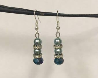 Aquamarine Pearls & Crystals Earrings
