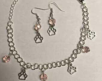 Pink Paws Jewelry Set