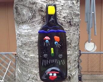 Fused wine bottle face