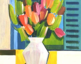 Tulips and Blue Shutters