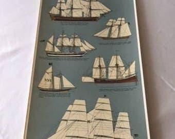 Vintage Sailing Ships Poster printed in Sweden by III Tre Tryckare, Gothenburg, Sweden