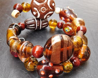 Handcrafted wooden double-wrap beaded bracelet (tribal)