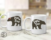 Parents coffee mugs, birth announcement, mug for Mom and Dad, Papa and mama bear, coffee lover gift, future parents gift