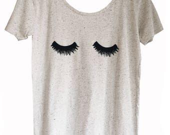 White Marl Eyelash T-Shirt