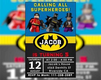Batman Lego Invitation,Batman Lego Party,Batman Lego Birthday,Batman Lego Invite,Bantan Lego Party Invitation,Batman Lego Birthday Party