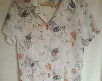 Vintage 90's White Top/ Womens Blouse/ Short Sleeve Blouse/ Floral Print Blouse/ Ladies Shirt/ See Through Blouse/ Ladies Clothing/