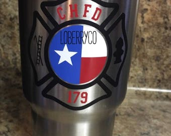 Firefighter decal -- Maltese Cross -- Fire Department -- Texas Decal -- Yeti Decal