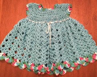 Hand-made crochet baby dress for 0-6 months