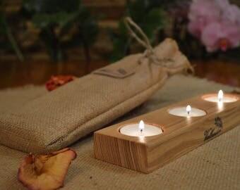 Candle Holder, Wood Tea Light Candle Holder, 3 Tea Light Holder, Home Decor, Rustic Wedding Decor