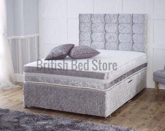 Crushed Velvet Silver Divan Bed With Mattress and Headboard
