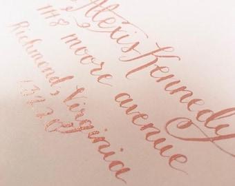 Kennedy style envelope - hand drawn custom calligraphy envelope addressing