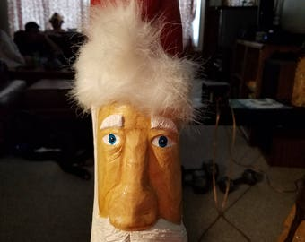 Hand carved and painted cypress knee Santa