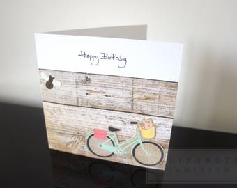 happy birthday card, wooden design, wooden feature, spring, summer, blank card