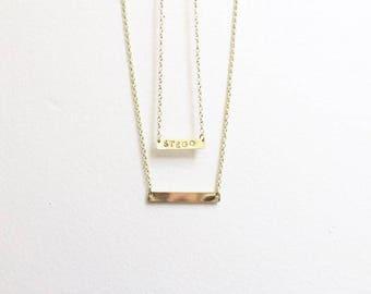 Gold Bar Necklaces, Custom