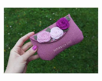 Vintage pink pouche FlowerPower