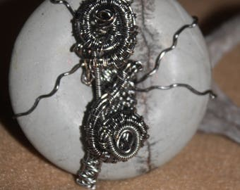 Heady Donut wrapped in Antique Silver Copper Wire