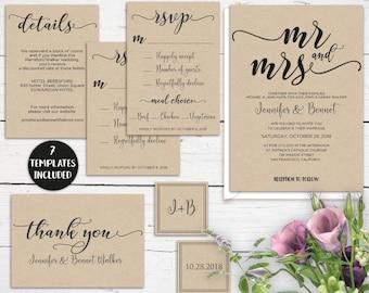 Mr & Mrs Kraft Wedding Invitation Template Printable, Rustic Invitation Suite Editable, DIY Wedding Template Set, PDF Instant Download MR312