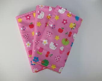 Homemade, Set of 3, Baby Burp Cloth, Hello Kitty,  Newborn, Baby Shower,Gift , Present, Pink, White, Bib