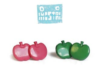Stud earrings, earrings uk, free shipping, food earrings,  earrings silver, apple earrings, girly gifts, limited edition