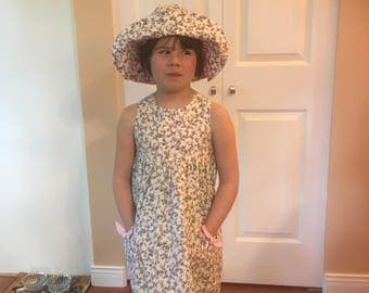 Girl's summer dress with panties and hat